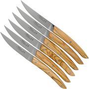 Claude Dozorme Le Thiers steak knife set 6-piece, olive wood