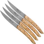 Claude Dozorme Le Thiers juego de cuchillos para carne 4-piezas, madera de abedul roja