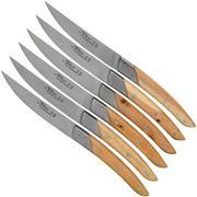Claude Dozorme Le Thiers Art Deco Coffret de couteaux à steak, 6 pièces, Genévrier