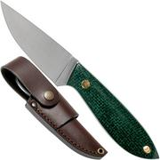 Brisa Bobtail 80 green micarta handle, 12C27, Multi-carry sheath 9957