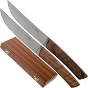 Fontenille Pataud Le Thiers set de 2 couteaux à steak ronce de noyer, TR2TNO