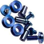 """Rick Hinderer Complete Stonewash Blue Titanium Hardware Set, XM18 3,5"""" Skinny"""