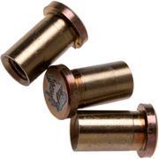 "Rick Hinderer Handle Nuts Bronze Titanium, Lasered Horse Head, Set van 3, XM18 3,5"" Skinny"