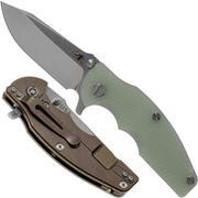 Rick Hinderer Jurassic Spearpoint 20CV Stonewash Bronze Translucent Green G10 couteau de poche