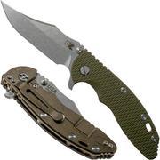 Rick Hinderer XM-18 3.5 Bowie 20CV Stonewash Bronze, OD Green G10 zakmes