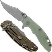 Rick Hinderer XM-18 3.5 Bowie 20CV Stonewash Bronze, Transparant G10 couteau de poche
