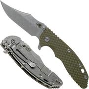 Rick Hinderer XM-18 3.5 Bowie 20CV Stonewash, OD Green G10 couteau de poche