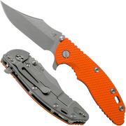 Rick Hinderer XM-18 3.5 Bowie 20CV Working Finish, Orange G10 couteau de poche