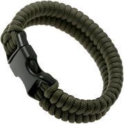 Knivesandtools paracord armband fishtail wave, lengte binnenmaat 21 cm, army green