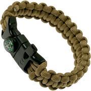 Knivesandtools survival bracelet cobra wave, length inner size 22 cm, coyote brown