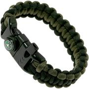 Knivesandtools Survival Armband cobra wave, longueur interne 22 cm, black and army green