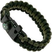 Knivesandtools survival armband cobra wave, black and army green, binnenmaat 25 cm