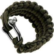 Knivesandtools paracord bracelet quick deploy, Army Green, inner size 21.5 cm