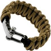 Knivesandtools paracord bracelet double cobra wave, black/brown, inner size 24 cm