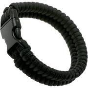 Knivesandtools paracord armband fishtail wave, zwart, binnenmaat 22 cm
