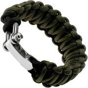 Knivesandtools paracord bracelet double cobra wave, black/army green, inner size 21.5 cm