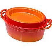 Le Creuset Doufeu Gusseisen Bratpfanne oval, 32 cm, 7,2L orange-rot