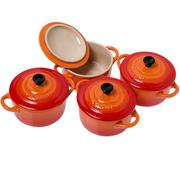 Le Creuset Les Céramiques Mini-Cocotte Set 10 cm, orange-rot