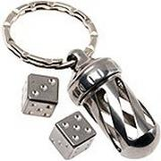 LionSteel AcornDice Steel sleutelhanger, stalen dobbelsteentjes
