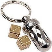 LionSteel AcornDice Brass key ring, brass dice