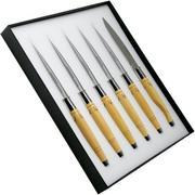 Nontron Christian Ghion 6-piece steak knife set, box wood, T6TDBU