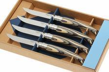Opinel 4-piece steak knife set, Birch wood