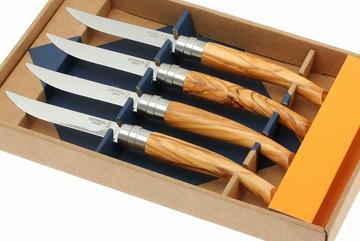 Opinel 4-teiliges Steakmesser-Set, Olivenholz