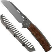 Reate JACK 2.0 Brown Micarta Grey, M390 Handrubbed coltello da tasca con pettine