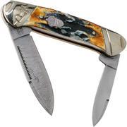 Rough Ryder Canoe Cinnamon Stag RR2156 Damascus coltello da tasca slipjoint