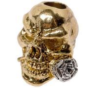 Schmuckatelli Rose Skull abalorio 2-tonos Antique Gold/A.Rhodium