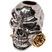 Schmuckatelli Rose Skull Bead 2-Tone Antique Rhodium/A.Gold
