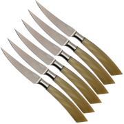 Saladini ensemble 6 pièces couteaux à steak 23 cm, corne de boeuf