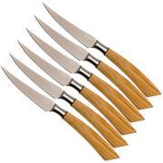 Saladini ensemble 6 pièces couteaux à steak 23 cm, olivier