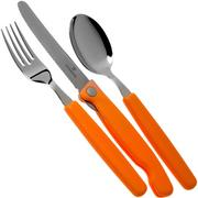 Victorinox Swiss Classic 3-piece cutlery set orange with foldable knife, 6.7192.F9