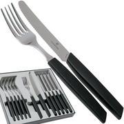 Victorinox Swiss Modern 6.9093.11W.12, 12-pz set di posate con coltello da pomodoro, nero