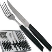 Victorinox Swiss Modern 6.9093.12W.12, 12-piece cutlery set with steak knife, black
