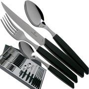 Victorinox Swiss Modern 6.9093.12W.24, 24-pz set di posate con coltello da bistecca, nero