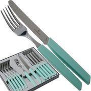 Victorinox Swiss Modern 6.9096.11W41.12, 12-pz set di posate con coltello da pomodoro, verde