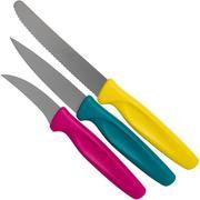 Wüsthof Create Collection Küchenmesser 3-teiliges Set, pink, türkis und gelb